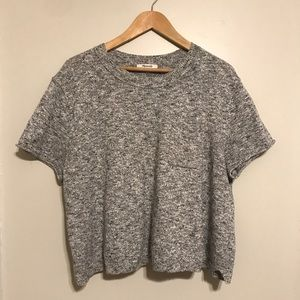 Madewell cropped boxy grey t shirt sweater